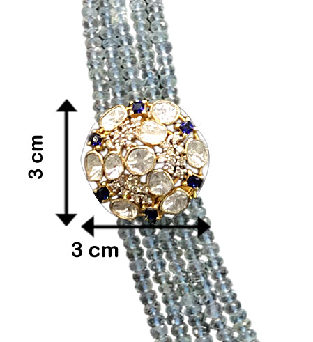 14k Gold and Diamond Polki Open Setting Broach Necklace Set with Aquamarine beads