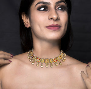 23k Gold and Diamond Polki south-style Choker Necklace Set with Antiqued Hyderabadi Pearls