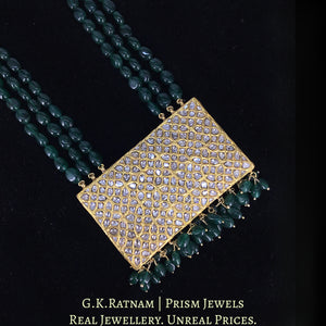 23k Gold and Diamond Polki Rectangle Pendant enhanced with emerald-grade Green Beryls