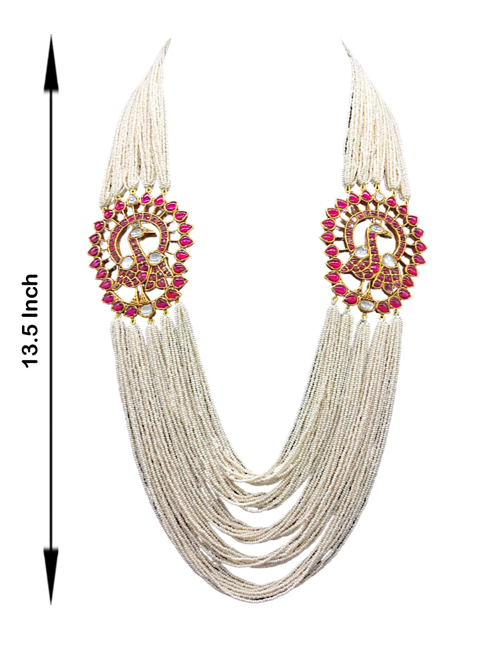 22k Gold and Diamond Polki Peacock Broach Necklace with Rubies and Chid Pearls