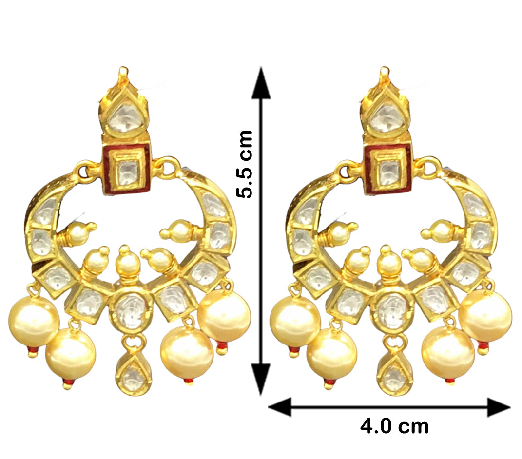 18k Gold and Diamond Polki Small Chand Bali Earring Pair with Red Enamel - G. K. Ratnam