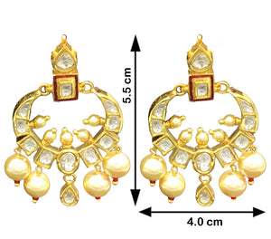 18k Gold and Diamond Polki Small Chand Bali Earring Pair with Red Enamel - gold diamond polki kundan meena jadau jewellery