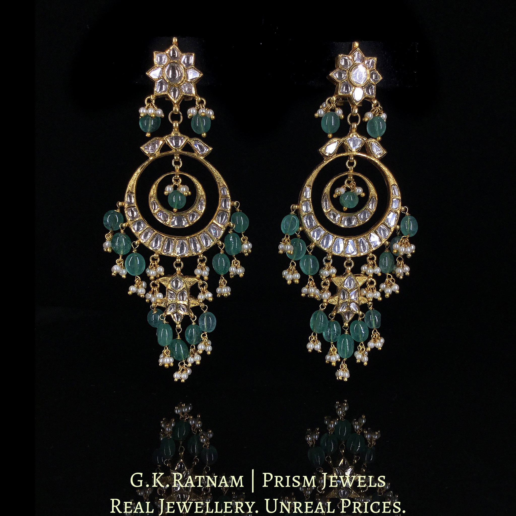 18k Gold and Diamond Polki Chand Bali Earring with Fish Hangings