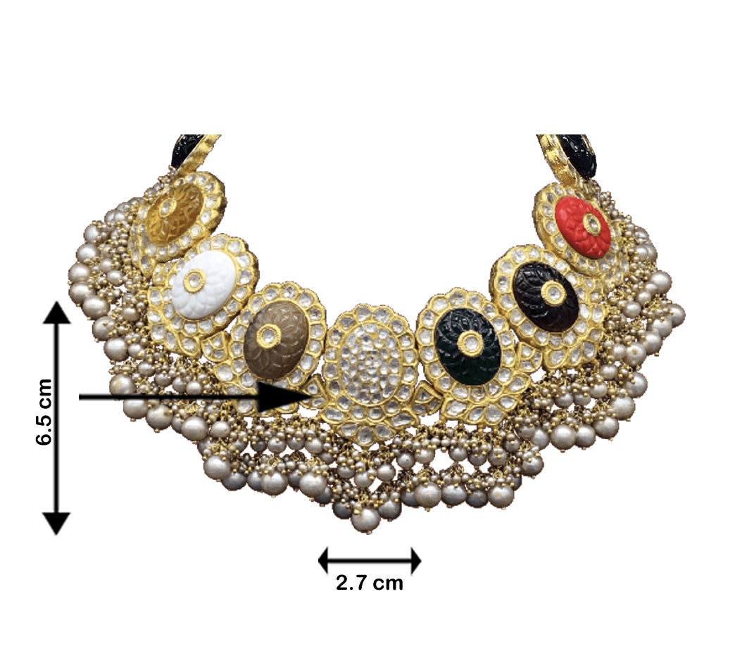 23k Gold and Diamond Polki Navratna Necklace Set with Antiqued Freshwater Pearls