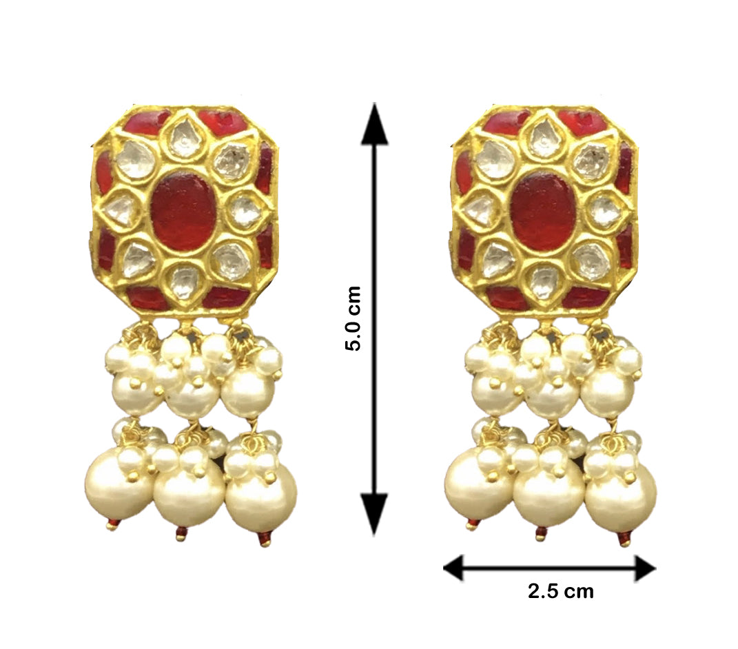 23k Gold and Diamond Polki Ruby Hybrid Pendant Set with tiny chid pearl bunches