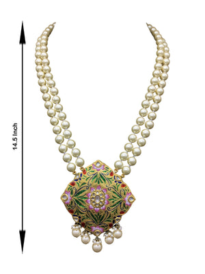 23k Gold and Diamond Polki multi-color designer Pendant with lustrous south-sea-like pearls