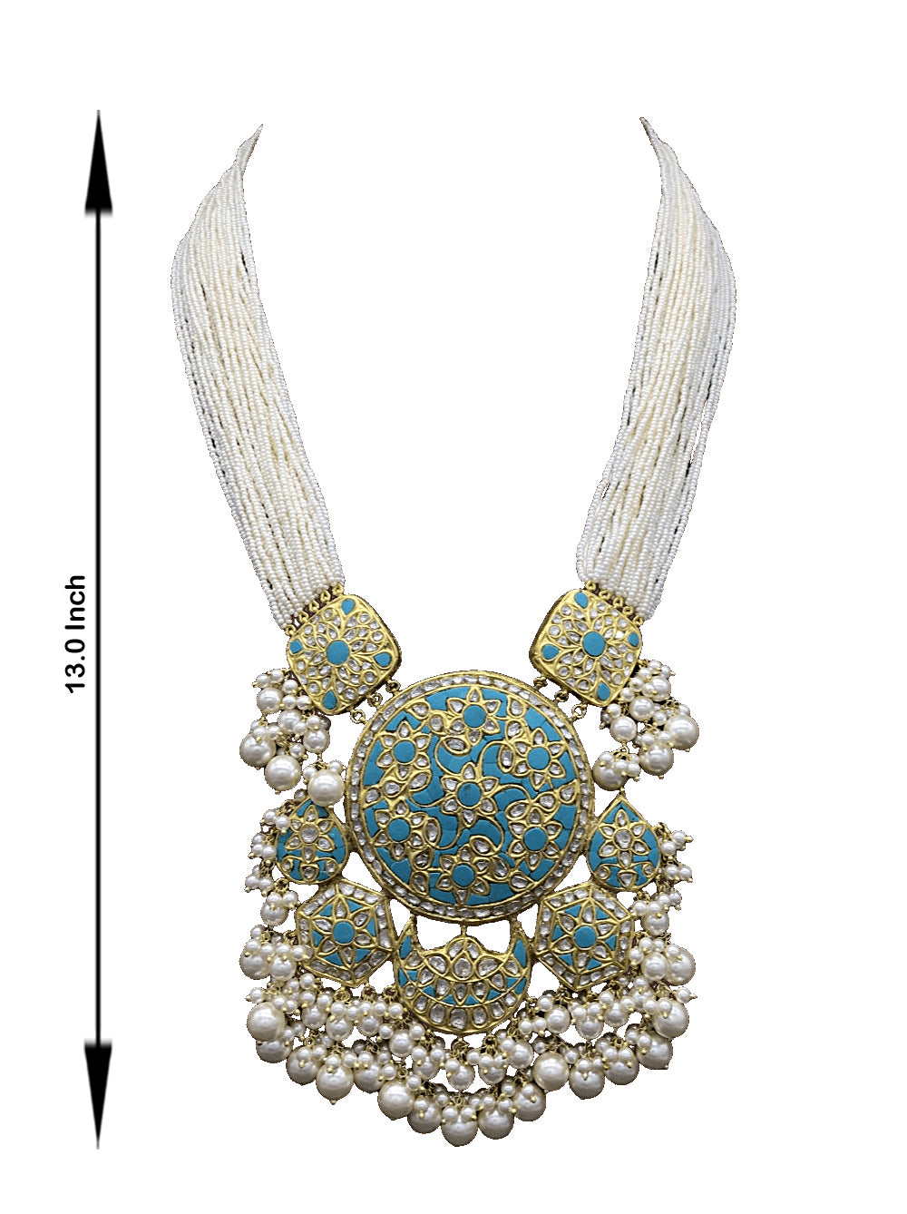 23k Gold and Diamond Polki Turquoise Hybrid Pendant Set with tiny chid pearl bunches