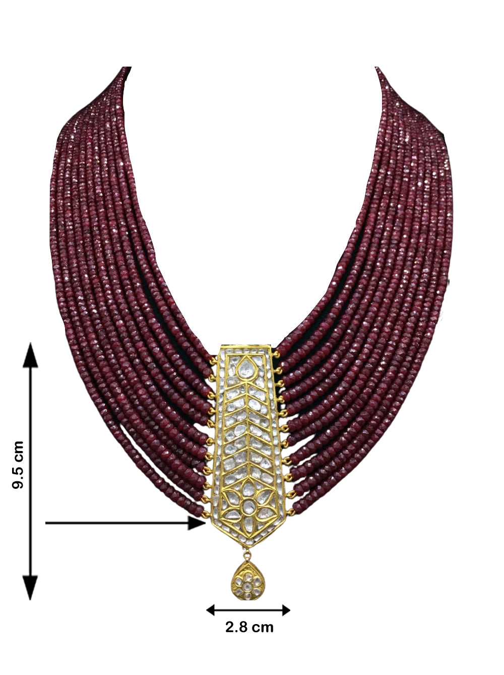 23k Gold and Diamond Polki tie-shaped Pendant with Natural Rubies