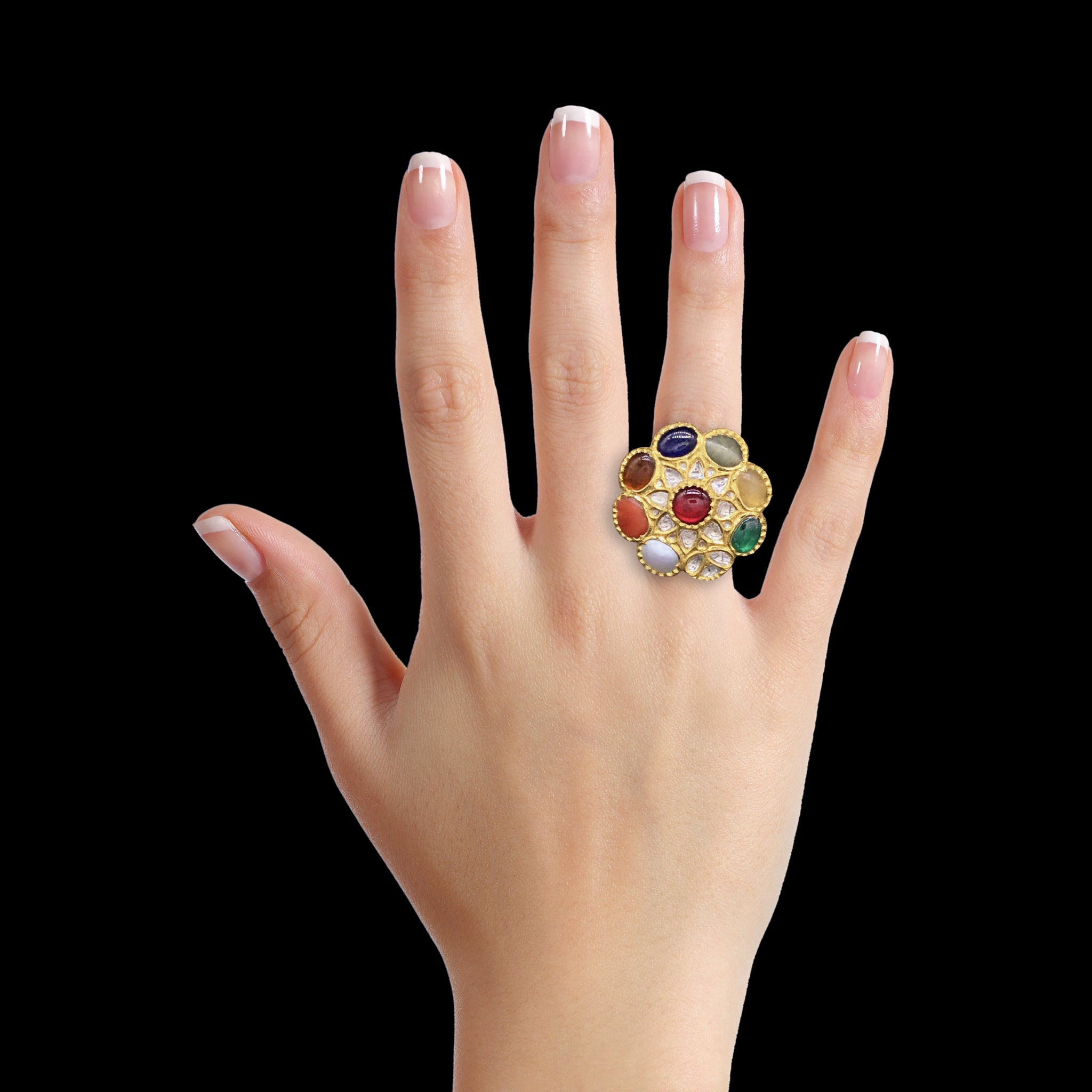 18k Gold and Diamond Polki Cocktail Ring with Navratna Stones