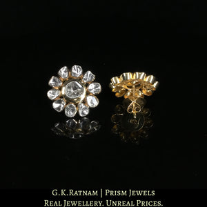 18k Gold and Diamond Polki Open Setting floral Tops / Studs Earring Pair