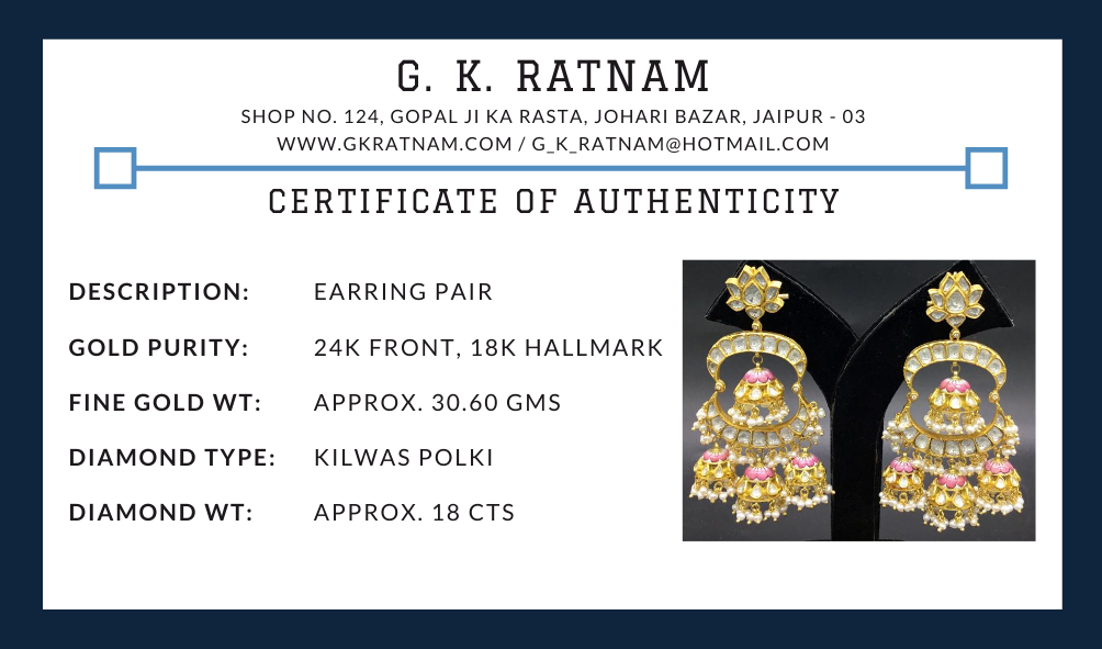 18k Gold and Diamond Polki Chand Bali Earring Pair with three pairs of Pink Enamel Jhumkas - G. K. Ratnam
