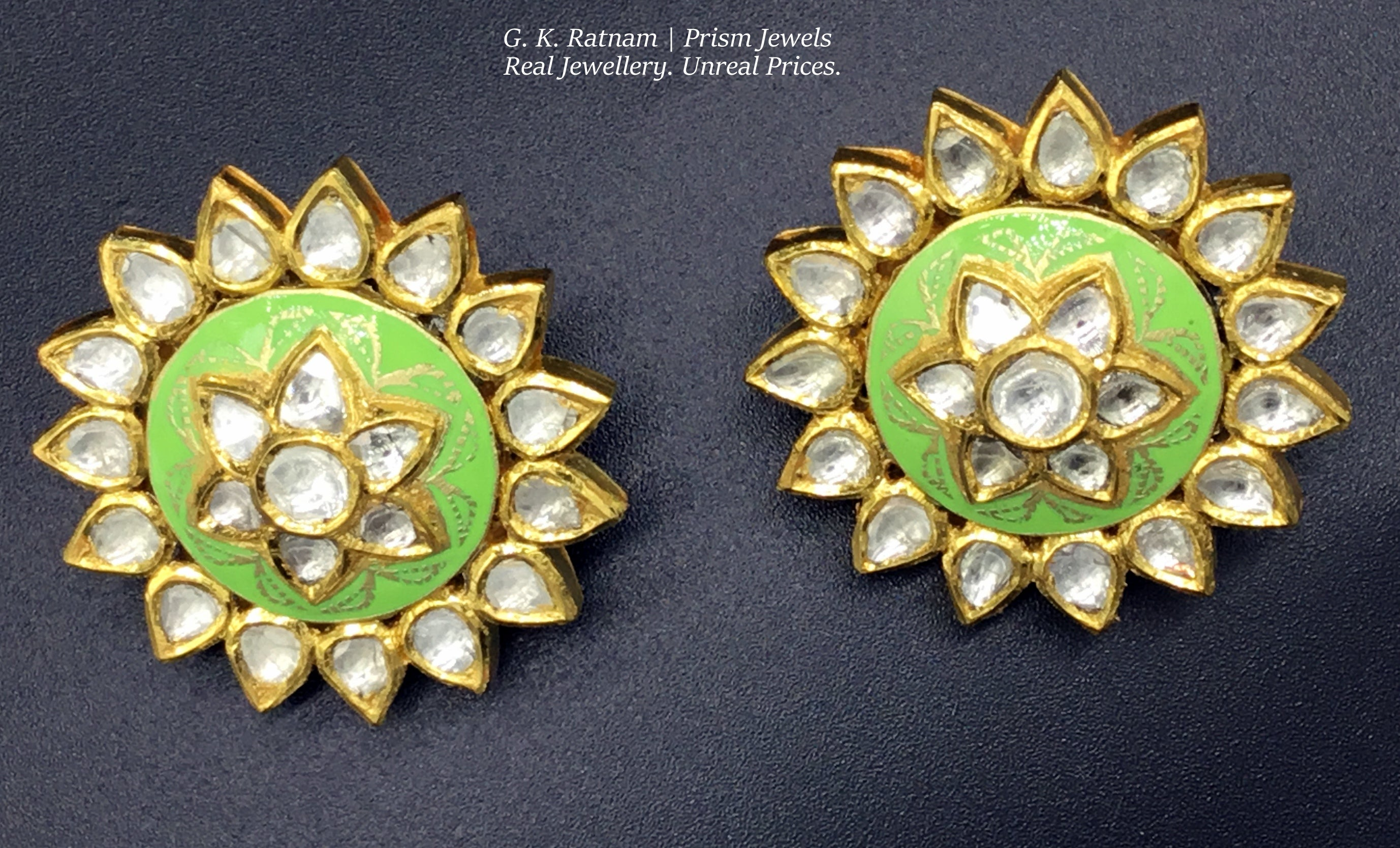 18k Gold and Diamond Polki peridot-green enamel Karanphool Earring Pair - gold diamond polki kundan meena jadau jewellery