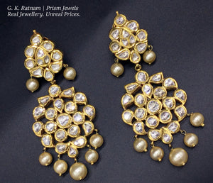 Traditional Gold and Diamond Polki two-step Long Earring Pair with south-sea-like pearl hangings - G. K. Ratnam