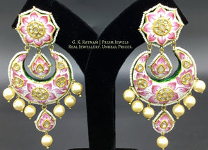 23k Gold and Diamond Polki Chand Bali Earring Pair with Pink Enamelling - gold diamond polki kundan meena jadau jewellery