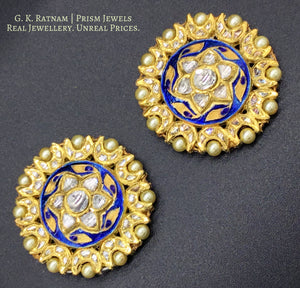 18k Gold and Diamond Polki Karnfool Pair with Blue Meenakari - gold diamond polki kundan meena jadau jewellery