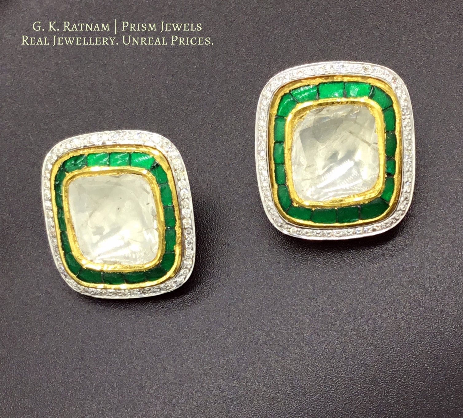 18k Gold and Diamond Polki Tops / Studs Earring Pair with big uncuts and emerald-green stones - gold diamond polki kundan meena jadau jewellery