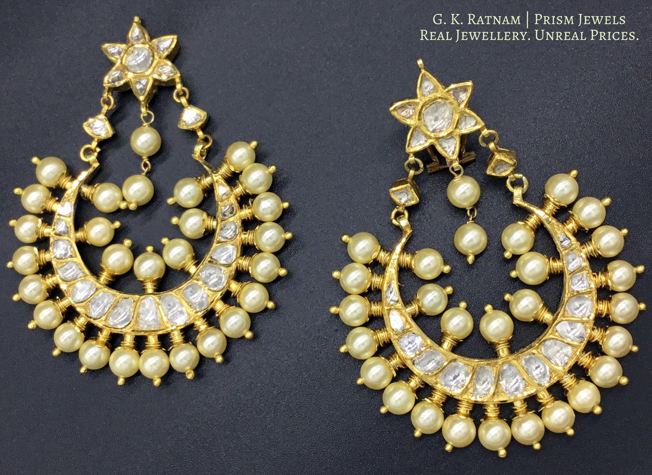 18k Gold and Diamond Polki Chand Bali Earrings with Pearls - gold diamond polki kundan meena jadau jewellery