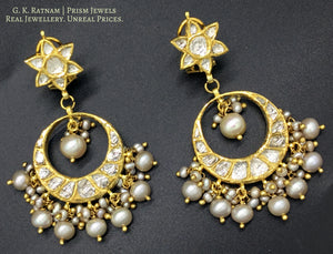 18k Gold and Diamond Polki Chand Bali Earrings with antiqued natural freshwater pearls - G. K. Ratnam