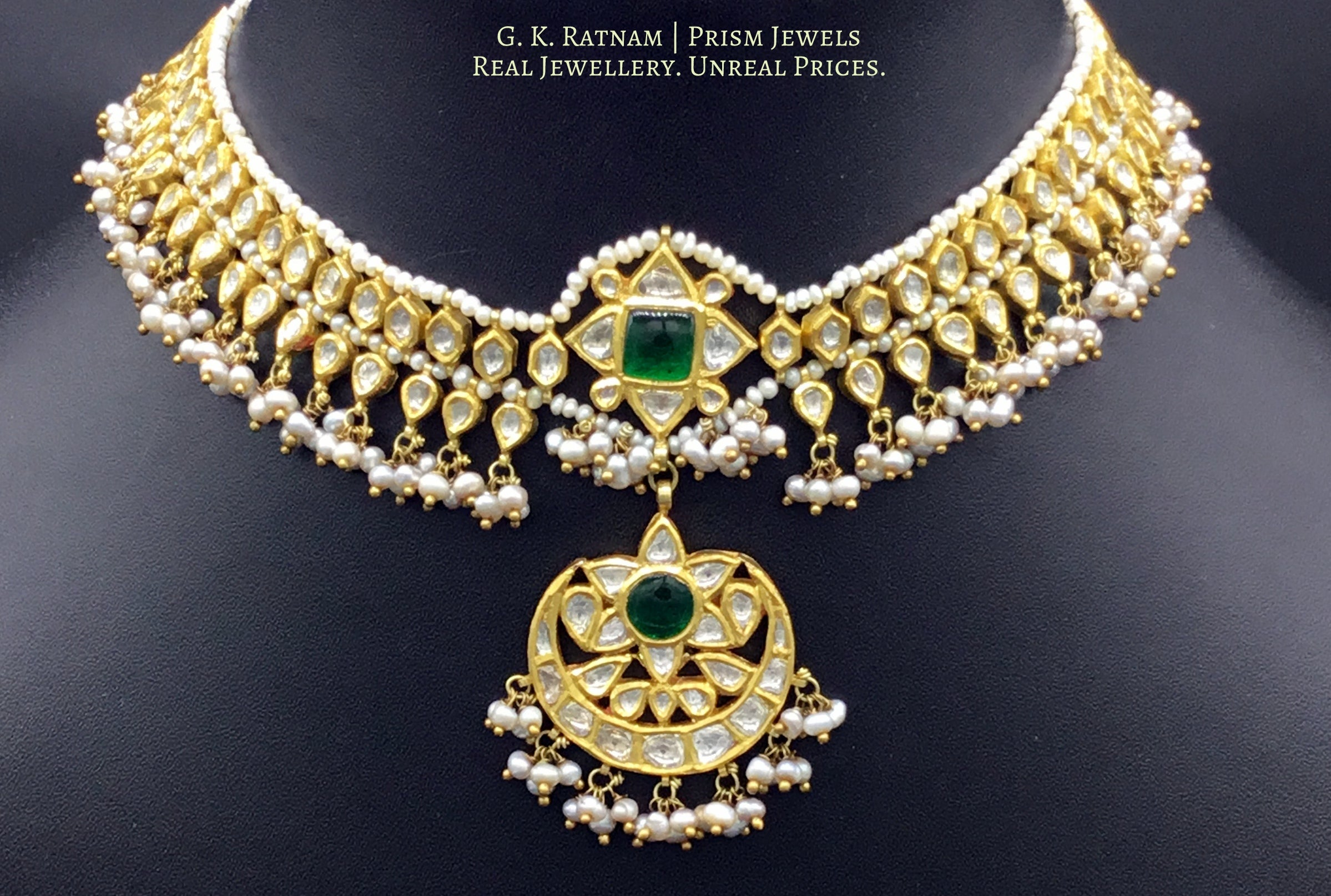 18k Gold and Diamond Polki Matha Patti with antiqued natural hyderabadi pearls - gold diamond polki kundan meena jadau jewellery