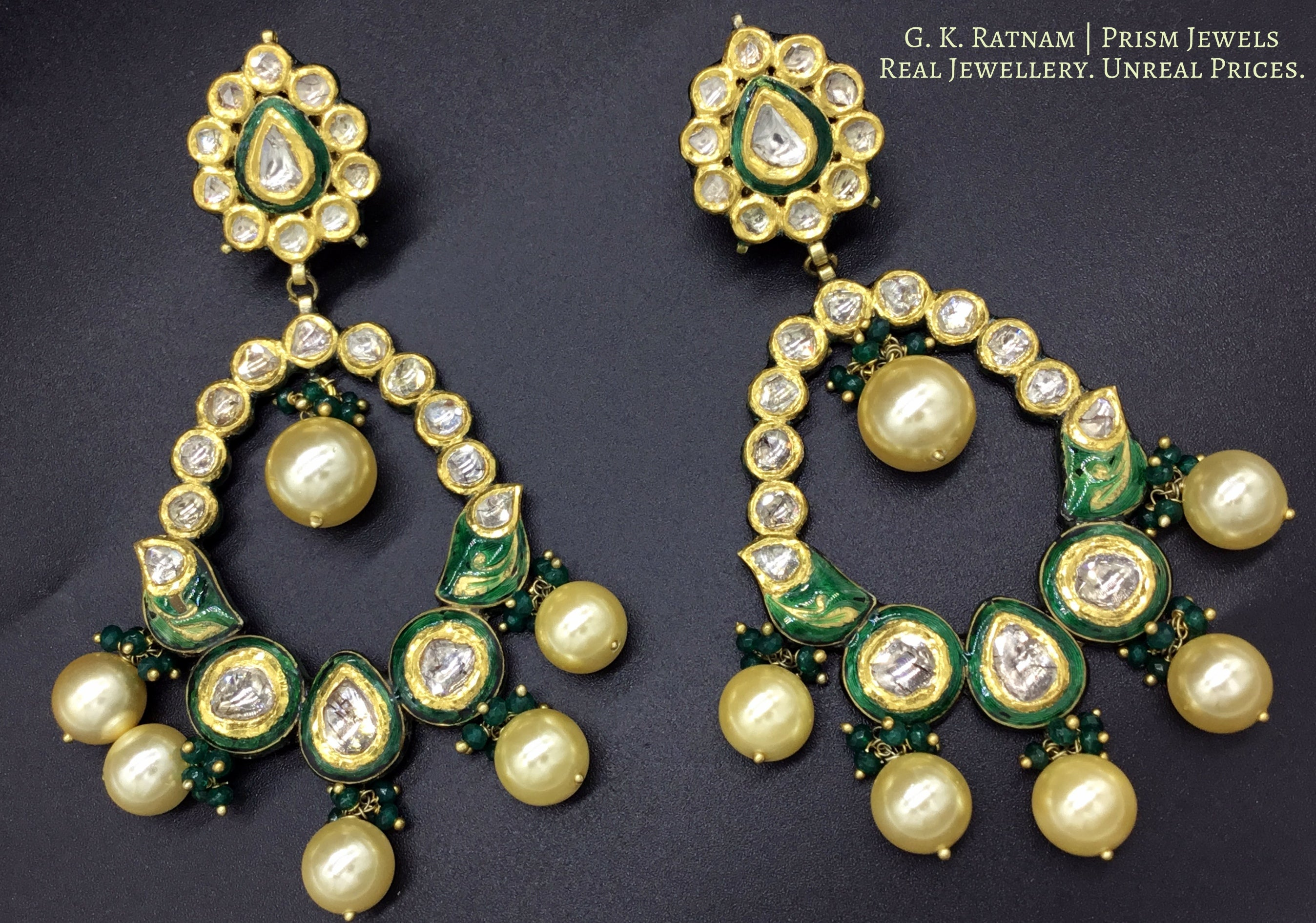 18k Gold and Diamond Polki floral Chand Bali Earring Pair with green enamelling - G. K. Ratnam