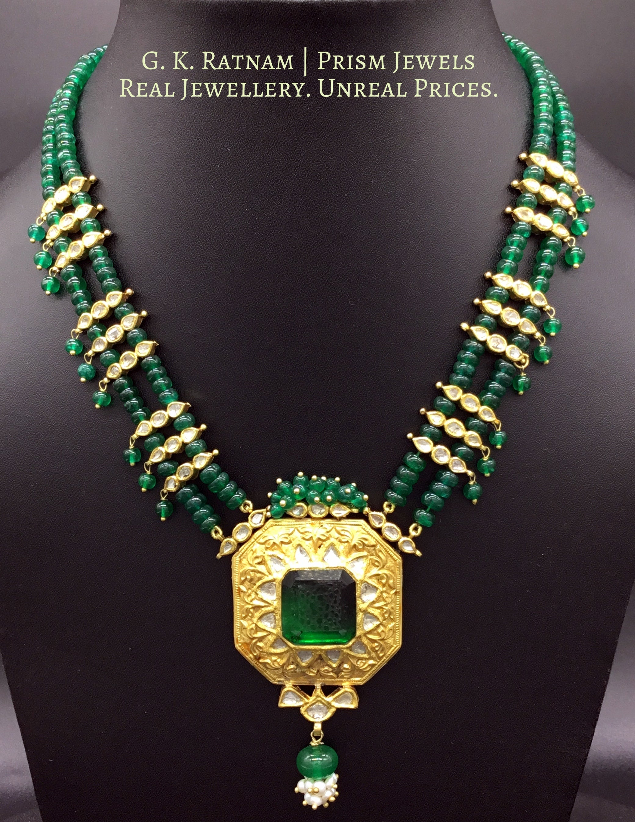 22k Gold and Diamond Polki green-center Octagon Pendant Set with polki leafs strung in natural emerald beads - G. K. Ratnam