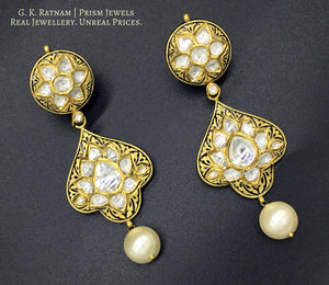 22k Gold and Diamond Polki Prataj Long Earring Pair - gold diamond polki kundan meena jadau jewellery
