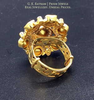 18k Gold and Diamond Polki Open Setting Round Ring - gold diamond polki kundan meena jadau jewellery
