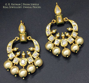 18k Gold and Diamond Polki Chand Bali Earring Pair with a hint of Green Enamel - gold diamond polki kundan meena jadau jewellery