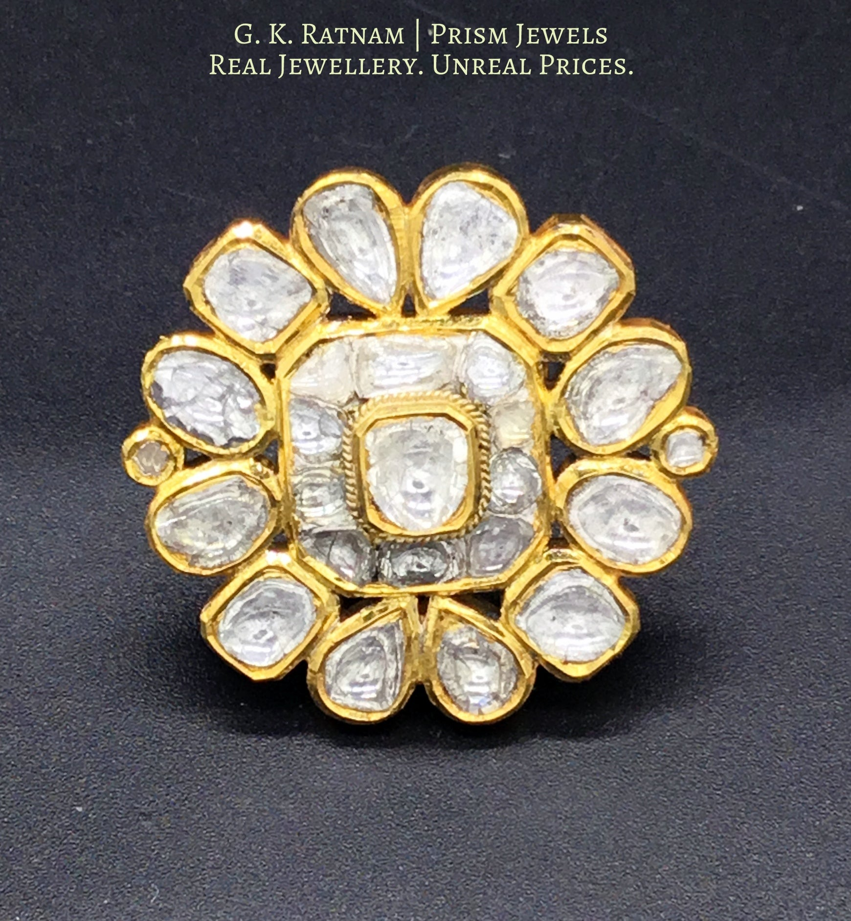 18k Gold and Diamond Polki floral Ring with far sized uncuts - gold diamond polki kundan meena jadau jewellery