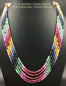 Five-row Rainbow Necklace with Natural rubies, emeralds, blue and yellow sapphires - G. K. Ratnam
