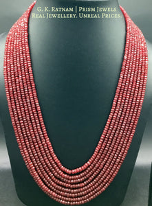 Natural (heat-treated) cut Rubies 8 line Necklace - gold diamond polki kundan meena jadau jewellery