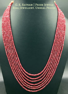 Natural (heat-treated) cut Rubies 7 line Necklace - gold diamond polki kundan meena jadau jewellery