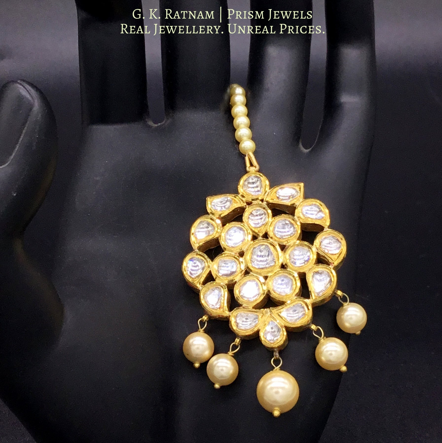 Traditional Gold and Diamond Polki floral Maang Tika with Syndicate uncut diamonds - gold diamond polki kundan meena jadau jewellery