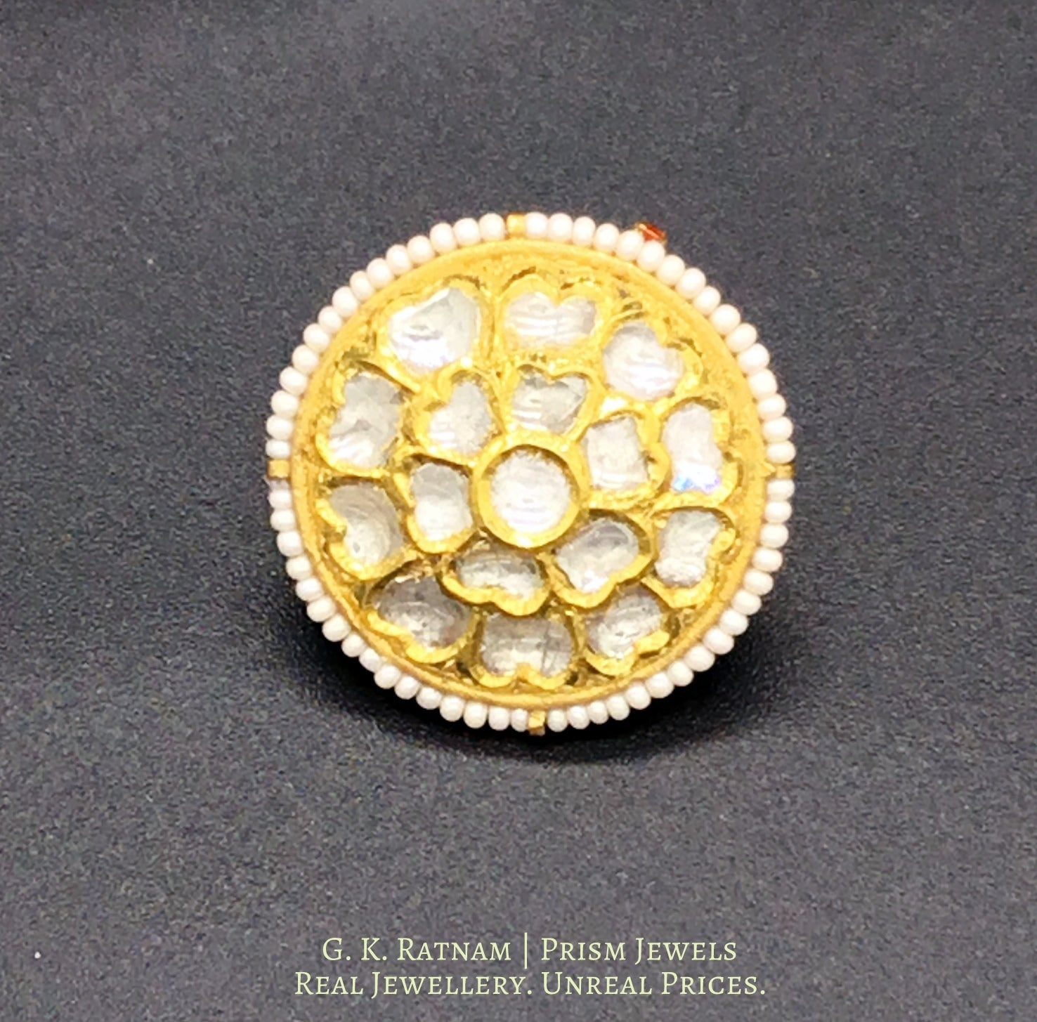 22k Gold and Diamond Polki Borla with Pearls - gold diamond polki kundan meena jadau jewellery