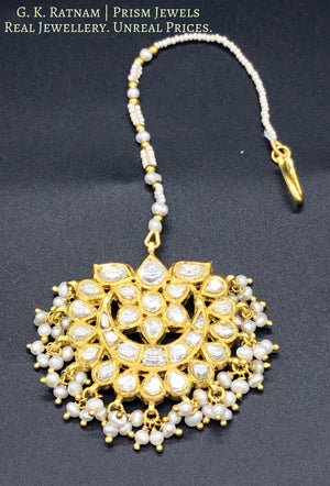18k Gold and Diamond Polki Maang Tika with Natural Freshwater Pearls - gold diamond polki kundan meena jadau jewellery