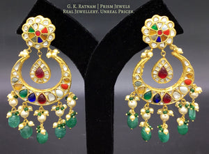 23k Gold and Diamond Polki Chand Bali Earring Pair with Navratna Stones - G. K. Ratnam