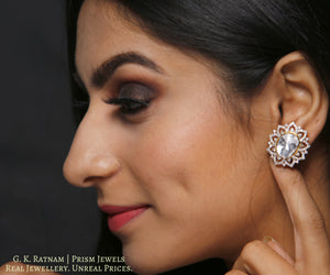 14k Gold and Diamond Polki Open Setting Tops / Studs Earring Pair with far sized uncuts surrounded by diamonds - gold diamond polki kundan meena jadau jewellery