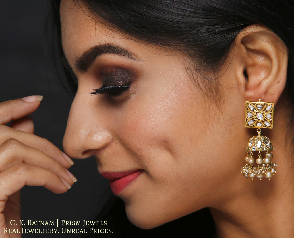 23k Gold and Diamond Polki Square Tops and Jhumki Earring Pair with antiqued freshwater pearls - gold diamond polki kundan meena jadau jewellery