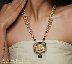 23k Gold and Diamond Polki octagonal colorful Pendant with Pearl Chains - gold diamond polki kundan meena jadau jewellery