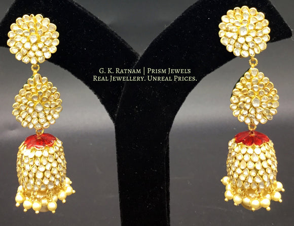 Long Earring - gold diamond polki kundan meena jadau jewellery