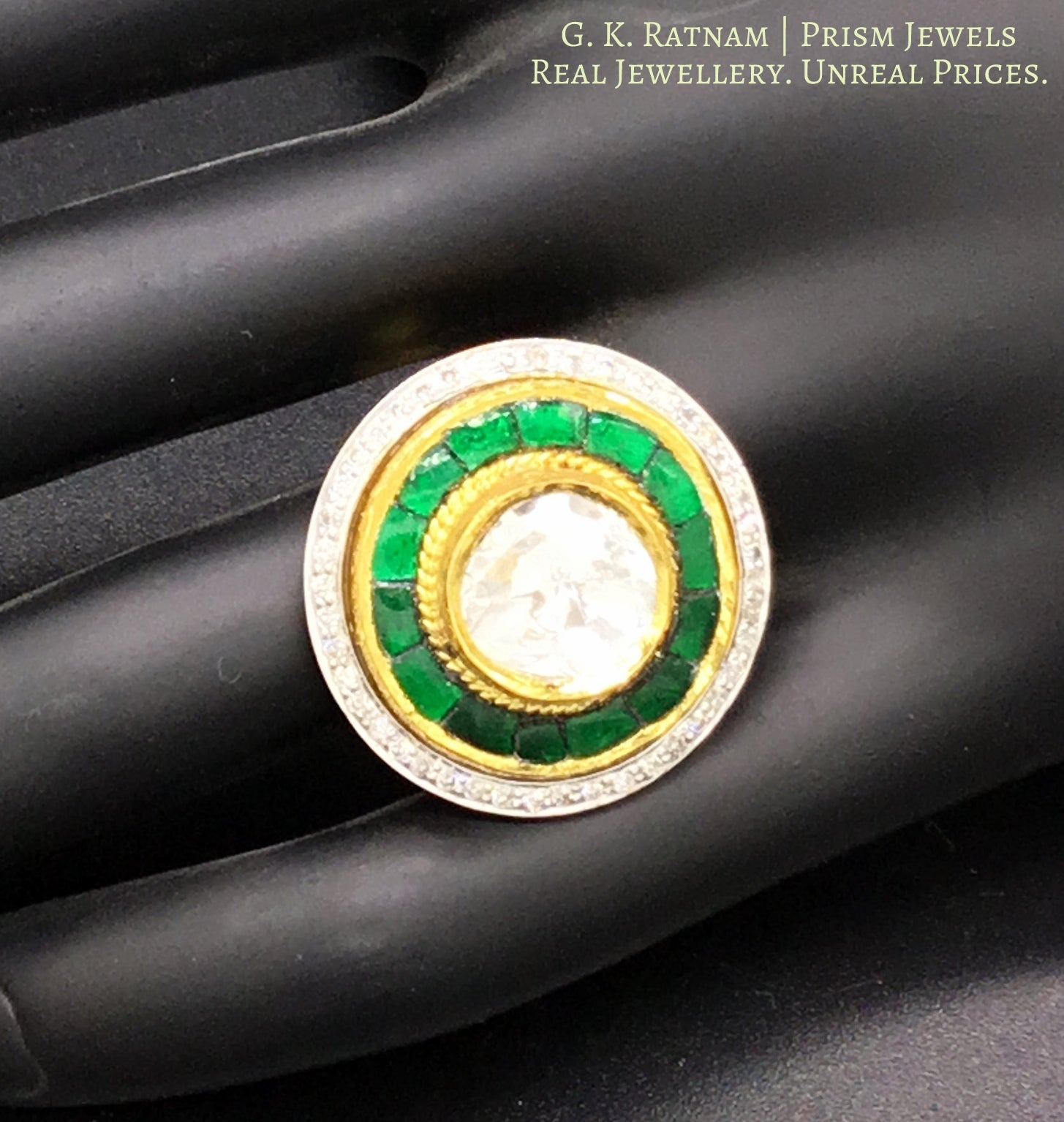 18k Gold and Diamond Polki Fusion Round Ring with emerald-green stones - gold diamond polki kundan meena jadau jewellery