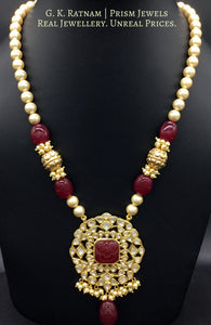 Traditional Gold and Diamond Polki carved-red-center Pendant Set with pearls and handcarved golden beads - G. K. Ratnam