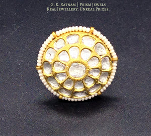18k Gold and Diamond Polki Round Ring with Chid Pearl Outlining - gold diamond polki kundan meena jadau jewellery