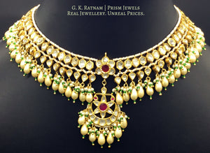 22k Gold and Diamond Polki Matha Patti enhanced with elongated pearls and a hint of green - G. K. Ratnam