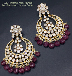 18k Gold and Diamond Polki Open Setting Chand Bali with Rubies - gold diamond polki kundan meena jadau jewellery