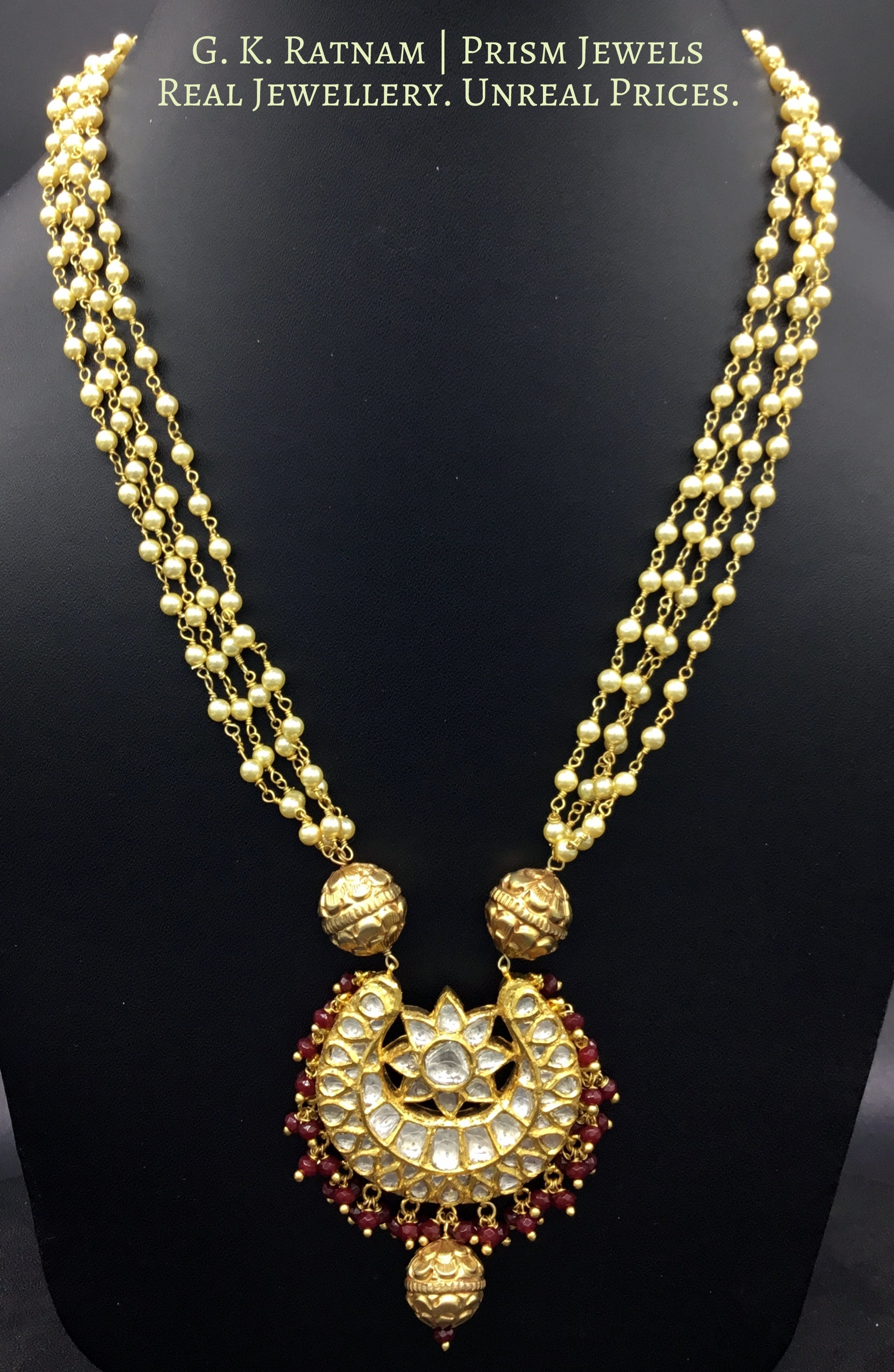 18k Gold and Diamond Polki Chand Pendant with Pearl Chains and Ruby Beads - G. K. Ratnam