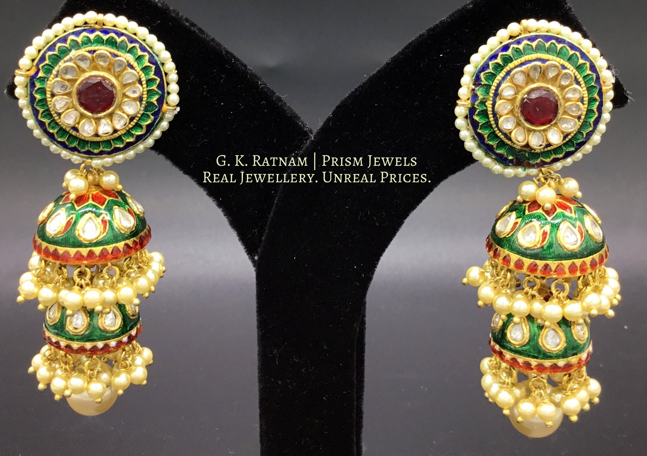 23k Gold and Diamond Polki Pacchi Tops and two-layered Jhumki Earring Pair with intricate green and red enamelling - gold diamond polki kundan meena jadau jewellery