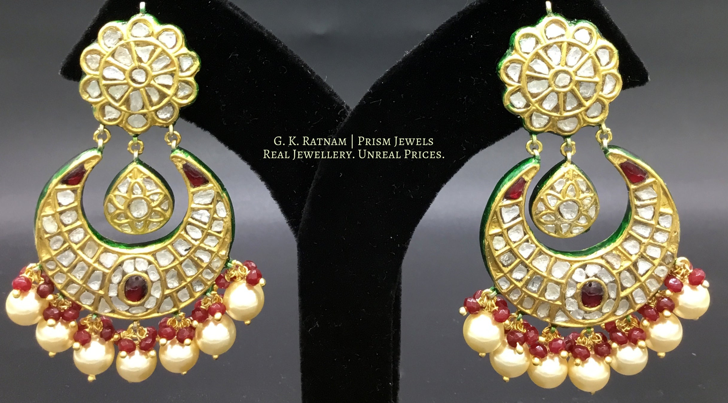 23k Gold and Diamond Polki Chand Bali Earring Pair with rubies and pearls - G. K. Ratnam