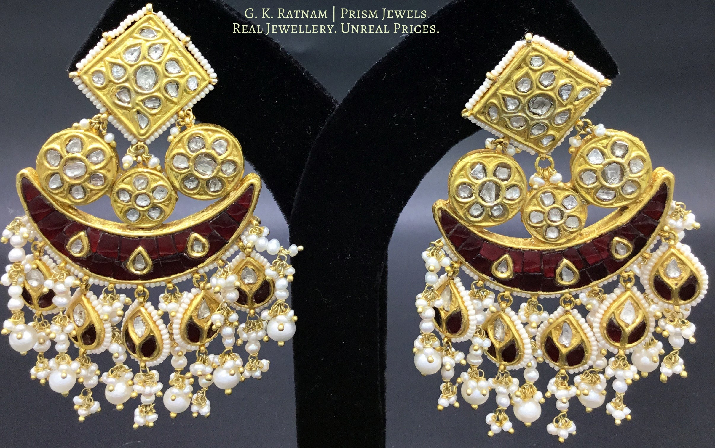 23k Gold and Diamond Polki Chandelier Earring Pair with ruby-red stones - gold diamond polki kundan meena jadau jewellery