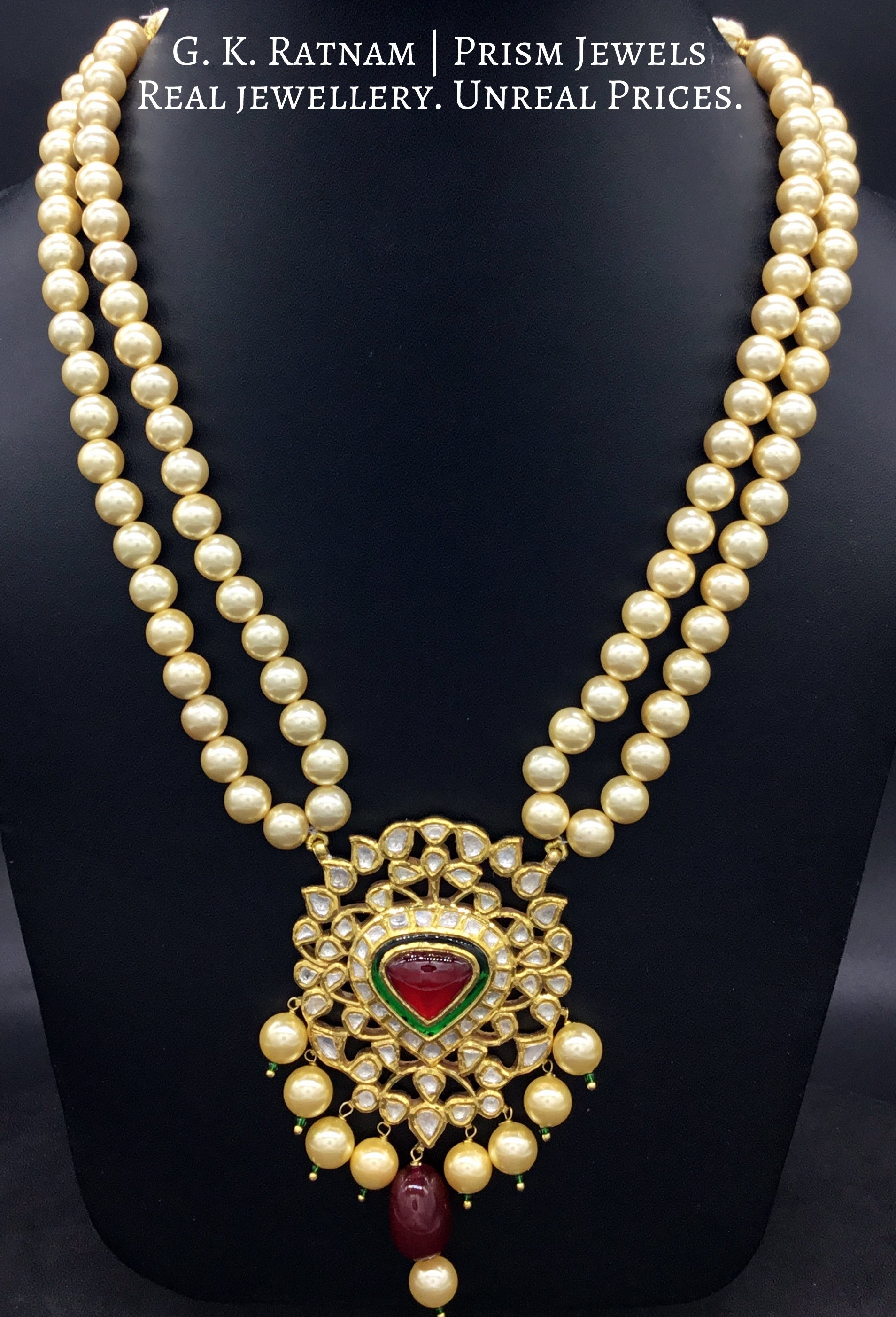 Traditional Gold and Diamond Polki red-center Pendant Set with double strands of lustrous pearls - gold diamond polki kundan meena jadau jewellery